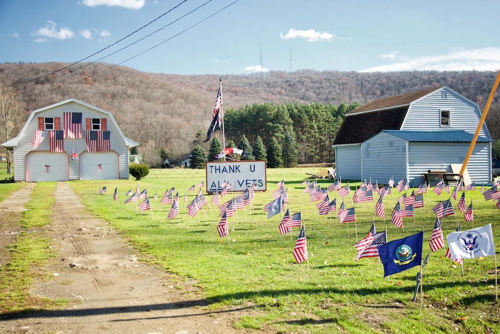 Remembrance Day display on farm, Salamanca, New York