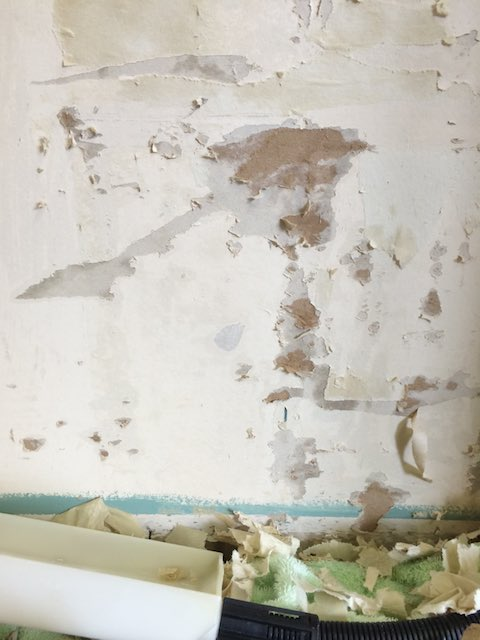 Damaged drywall after wallpaper removal