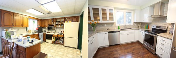 Kitchen before and after (c) Allyson Scott