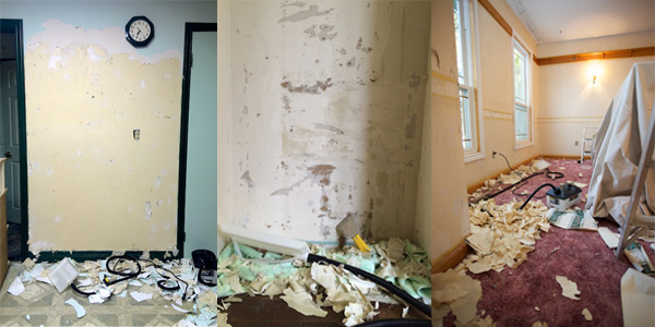 Wallpaper removal in 3 rooms