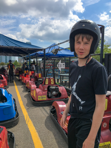 Jaymee at the Playdium go-kart track © Allyson Scott