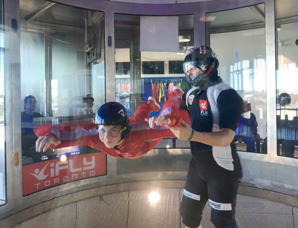 Jaymee and his instructor at iFly © Allyson Scott